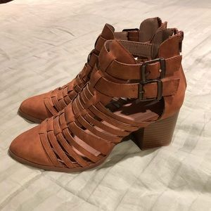 Tan straps ankle bootie
